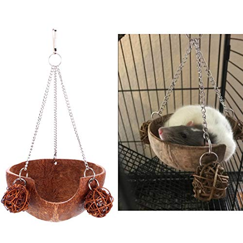 Pet Rats Toys - Beangel Coconut Shell Hamster Hammock, Swing Toy,Suitable for Gerbils, Rats or Other Small Animals