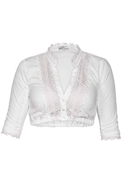 MarJo Damen Trachten Dirndlbluse Bluse Floris-Christina weiß Spitze halbarm
