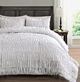Ruched Bedding 3-Piece Comforter Set, Pinch Pleat Bed Cover | Color: White | Size: King/Cal-King by Cozy Beddings
