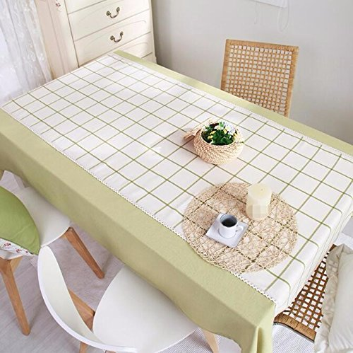 Tabgw Nappe rectangulaire salle à manger drap de coton couverture en tissu Garden Hotel Cafe Restaurant Accessoires pour la maison Style européen vert 180X130