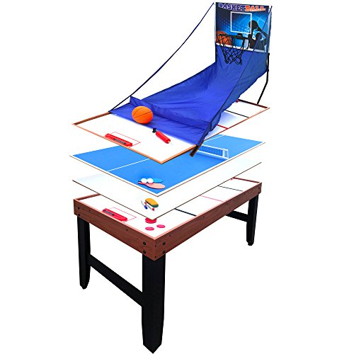 Hathaway Accelerator 4-in-1 Multi-Game Table with Basketball, Air Hockey, Table Tennis and Dry Erase Board for Kids and Families ()