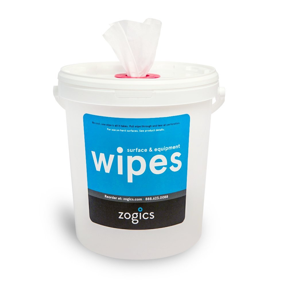 Zogics Antibacterial Wipes, EPA Registered Surface and Gym Equipment Disinfecting Wipes (800 Wipes) + Reusable Wipe Bucket Dispenser Z800Bucket