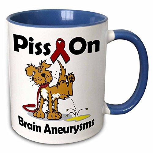 3dRose Dooni Designs Cause Awareness Ribbon Designs - Piss On Brain Aneurysms Awareness Ribbon Cause Design - 15oz Two-Tone Blue Mug (mug_115797_11) -