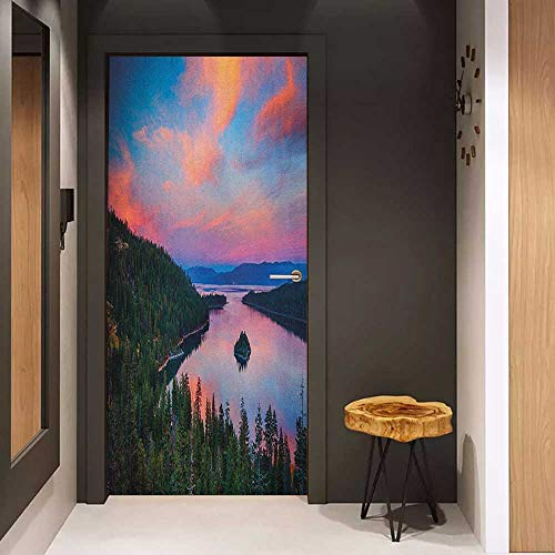 (Onefzc Automatic Door Sticker Lake Tahoe California Photography Rustic Themes Sundown Time Freshwater Sierra Nevada Lake Easy-to-Clean, Durable W23.6 x H78.7 Multicolor)
