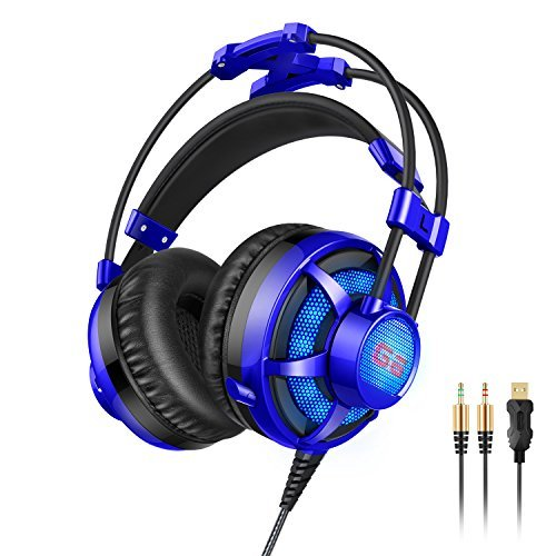 Honstek G6 Wired PC Gaming Headset, Foldable Hidden Retractable Microphone,USB and 3.5mm Stereo...