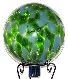 """Glass Gazing Ball """"Sparkle Green / Pale Blue"""" 12 Inch by Iron Art Glass Designs"""