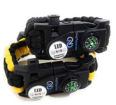 Adjustable Paracord Bracelet 550 Grade with Survival SOS LED Light, Firestarter, Compass, Rescue Whistle and mini Multitool Included by Nexfinity One