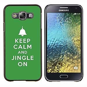 YiPhone /// Prima de resorte delgada de la cubierta del caso de Shell Armor - Mantenga tintineo encendido Campanas de Navidad verde - Samsung Galaxy E5 E500