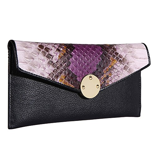 HisLee Rfid Blocking Womens Wallets Long Purse For Credit Card Money Card Passport Holder Envelope Clutch Bags Genuine Leather Button Snake Skin Travel Wallet 3 Colors-purple - Snake Long Wallet