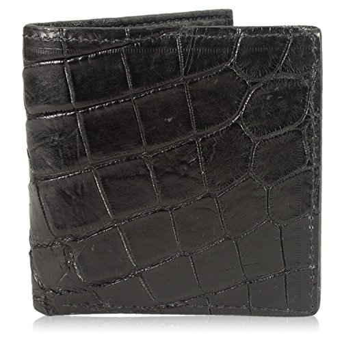 Black Genuine Alligator (Black Genuine Alligator Skin Hipster Wallet Handmade with 12 Card Slots)
