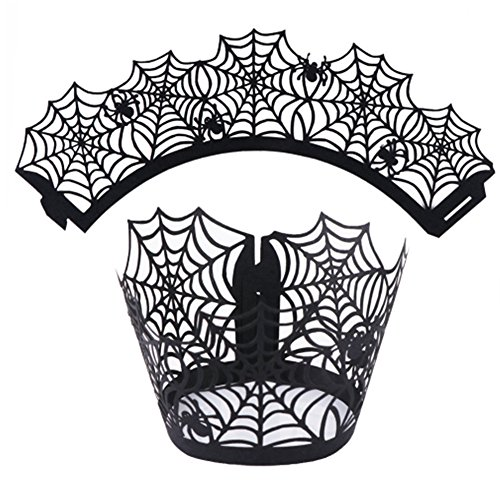 50pcs Halloween Decorations Cupcake Wrappers Wraps Case Hollow Spiderweb Laser Cut Wedding Birthday Party Halloween Cake Decoration -