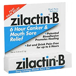 Zilactin-B Oral Pain Reliever, Long Lasting Mouth Sore Gel 0.25 oz (Pack of 3)