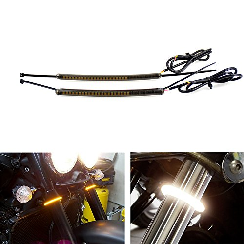 39 Mm Fork (Motorcycle LED 39mm 41mm Fork Turn Signal Light Strip Kit w/ Smoked Lens)