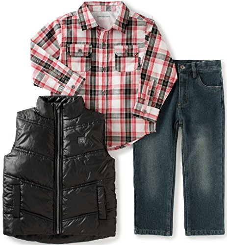 Pant Set Black Denim (Calvin Klein Little Boys' Toddler Shirt, Vest Diagonal Quilt and Jeans Pants Set, Black,)