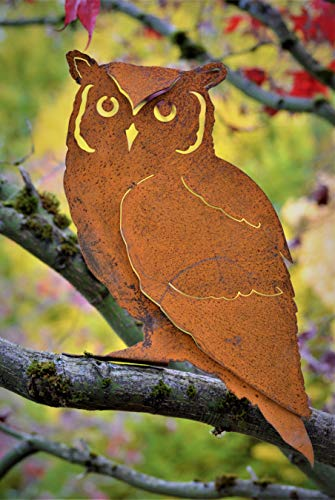 Screech Owl Rusty Garden Sculpture