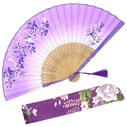 OMyTea 8.27(21cm) Women Hand Held Silk Folding Fans with Bamboo Frame - with a Fabric Sleeve for Protection for Gifts - Chinese/Japanese Style Butterflies & Morning Glory Flowers Pattern (Purple)