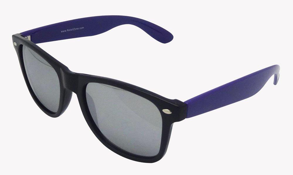 28b2c7ddbd0 Black Wayfarer Frame   Purple Arms Mirror Lens Festival Fashion Sunglasses   Amazon.co.uk  Toys   Games