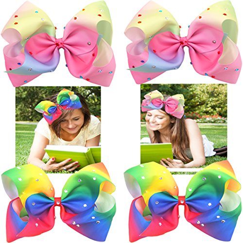 4 Pcs Big Bow with Alligator Clips Sparkly Glitter 7 Inch Ra