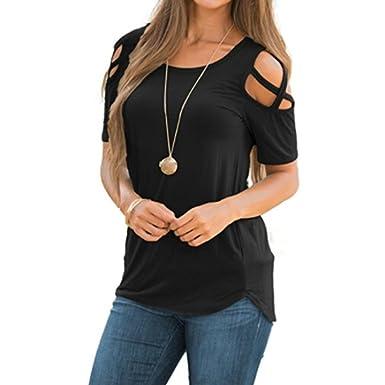609bab43e3c34 LILICAT Women Ladies Summer Short Sleeve T-Shirt Tops Crop