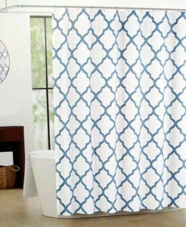 Moroccan Lattice Quatrefoil Luxury Fabric Shower Curtain In Blue Metallic Silver On White