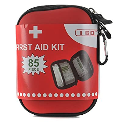 I GO First Aid Kit For Survival and Emergencies (85 Pieces) Light, Waterproof, Compact, and Comprehensive