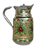 Indian Fine Stainless Steel water Pitcher , Meenakari decorative Jug , Table ware , Drink ware Home Kitchen Water Storage Vessel - 1.5 liter Capacity (Flower )