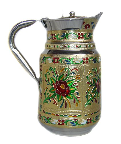 Indian Fine Stainless Steel Water Pitcher Meenakari Decorative Jug Extraordinary Decorative Water Pitcher