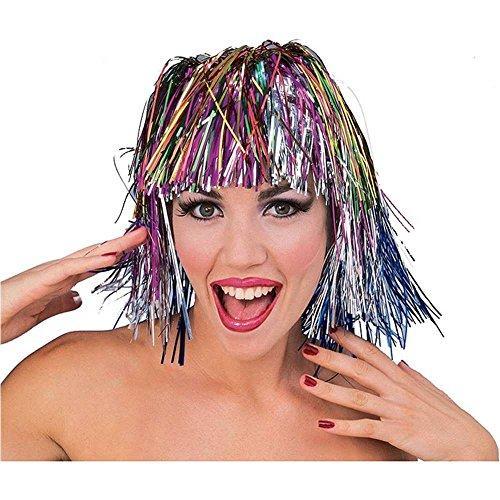 Forum Novelties Short Multi-Colored Tinsel Wig -