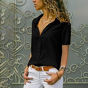 Baekoiesy Womens Chiffon Short Sleeve Blouses V Neck Fashion T-Shirt Tops Elegant Shirt Casual Solid Color Short Sleeve…