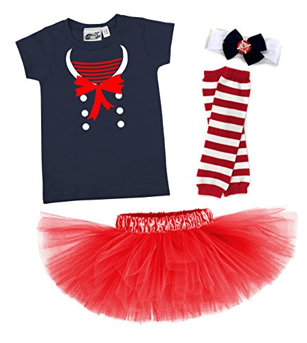 [Nautical Darling Sailor 4 Piece T-shirt Baby Toddler Red Tutu Costume Set (6 Months)] (Tutu Costume Ideas For Toddlers)