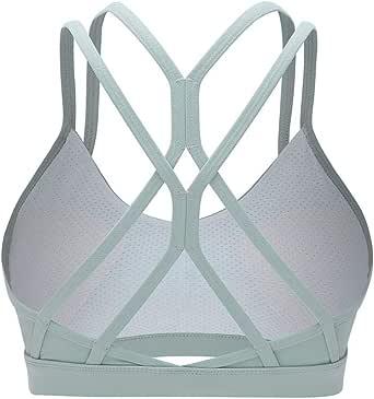 lureme Cross Back Strappy Sports Bra Yoga Workout Bras for Women (sb000002)