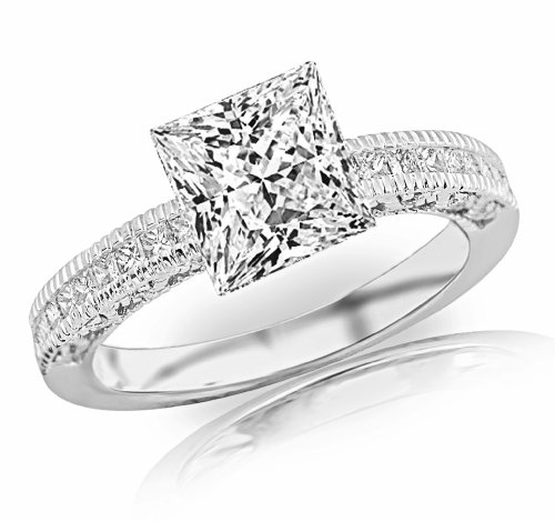 1.38 Carat 14K White Gold Vintage Channel Set Princess Diamond Engagement Ring With Milgrain with a 1 Carat Moissanite Center