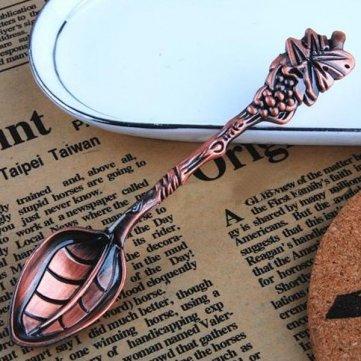 Tanzimarket - Alta calidad francesa Estilo Retro Uva Forma de acero inoxidable Vajilla Cucharillas - Copper: Amazon.es: Hogar