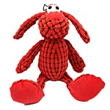 Q-monster Pet Dog Chew Squeaky Toy - Durable Stuffed for Small Puppy Medium Large Aggressive Chewers Teeth Cleaning (Red)