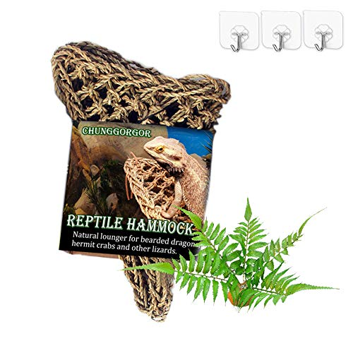 (Bearded Dragon Hammock, Triangle Natural Seagrass Reptile Hammock with Plant and Stable Adhesive Hooks, Help for Shedding Skin, Reptile Lounger Bearded Dragon Climbing Accessories for Lizard, Geckos)