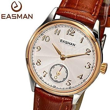 easman Reloj de mujeres de cuarzo de reloj 2015 nuevo brazalete de oro rosa relojes Trabaje piel auténtica Zafiro Mujer Relojes marrón Talla:Für Damen: ...