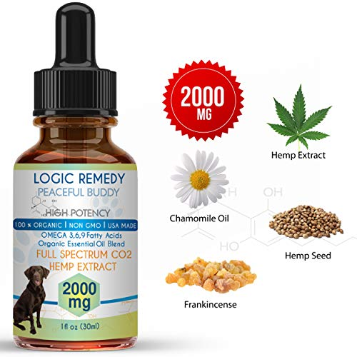 - LOGIC REMEDY (2000mg) Organic Hemp Extract & Essential Oil Blend & Omega-3,6,9 Fatty Acids for Dogs & Cats/ Vegan/Peaceful Buddy Fights Stress, Separation Anxiety & Improves Hip Joint Health (1 PACK)