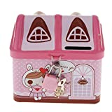 Flee Pink House Coin Box Piggy Bank,Metal Money Bank Savings Jar,Include Lock and Keys Tithing Fun for Kids Girls Boys