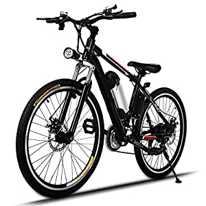 """Cosway Speed Electric Mountain Bicycle with 26"""" Fat Tire Suspension Fork and 36V Lithium ion Battery [US Stock]"""