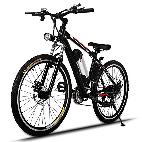 Speed Electric Mountain Bicycle with 26'' Fat Tire Suspension Fork and 36V Lithium-ion Battery [US STOCK] by Cosway