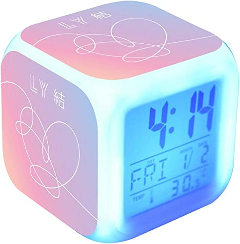 Hosston Alarm Clock, Kpop LED Digital Color Changing Alarm Clock Cute Cartoon 7 Colored Batteries Operated Night Light Alarm with Time, Alarm, Date, Day of The Week Style 01
