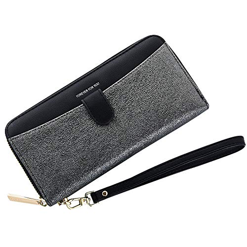 - Cyanb Women Bifold Clutch Wallets Iphone Wristlet Purses for Women Lady with Zipper and Wrist Strap Black