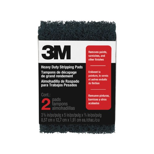 3M Heavy Duty Stripping Pads, 3.375-Inch by 5-Inch by .75-Inch, 2-Pack