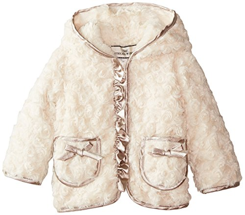 Widgeon Baby Girls' Hooded Sparkle Trim Hooded Faux Fur Jacket, Sparkle Swirl, 24 Months