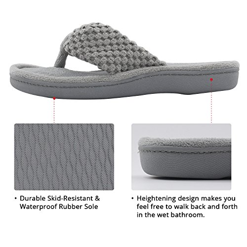 Pictures of Women's Cozy Memory Foam Plush Gridding Velvet Lining Spa Thong Flip Flops Clog Style House Indoor Slippers (Large / 9-10 B(M) US, Gray) 5