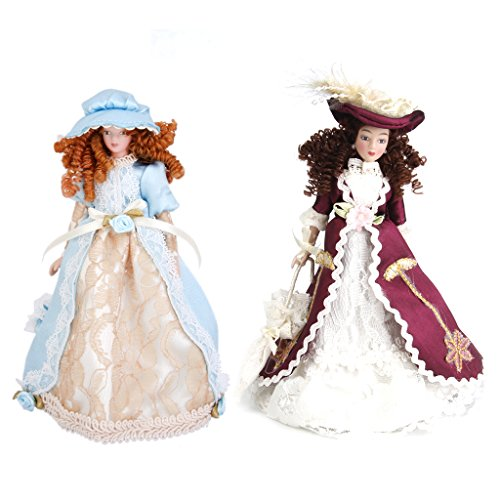 Dovewill 1/12 Doll House Miniature 2 Sets Porcelain Dolls Classical Victorian Lady in Dress with Hat & Display Stand for Home Garden Decoration