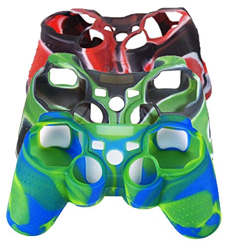 (3Packs Soft Silicone Skin Protector Cover Case for Sony Playstation PS3 Remote Controller (V8010AY(BL+RE+WH)+AY(BL+BU+WH)+AY(BL+GR+WH)))