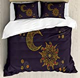 Oriental Duvet Cover Set Queen Size by Lunarable, Sun Moon Motifs East Elements Curlicues Paisley Astrological Inspirations, Decorative 3 Piece Bedding Set with 2 Pillow Shams, Gold Eggplant Red