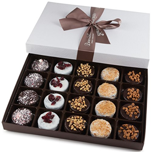 Barnett's Holiday Gift Basket - Elegant Chocolate Covered Sandwich Cookies Gift Box - Unique Gourmet Food Gifts Idea For Men, Women, Birthday, Corporate, Mothers Day or Valentines Baskets for Her (Cookies Baskets)