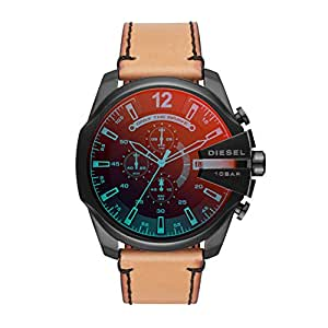 Diesel Men's 'Mega Chief' Quartz Stainless Steel and Leather Casual Watch, Color:Brown (Model: DZ4476)